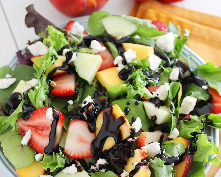 Summer Strawberry-Peach Salad with Goat Cheese