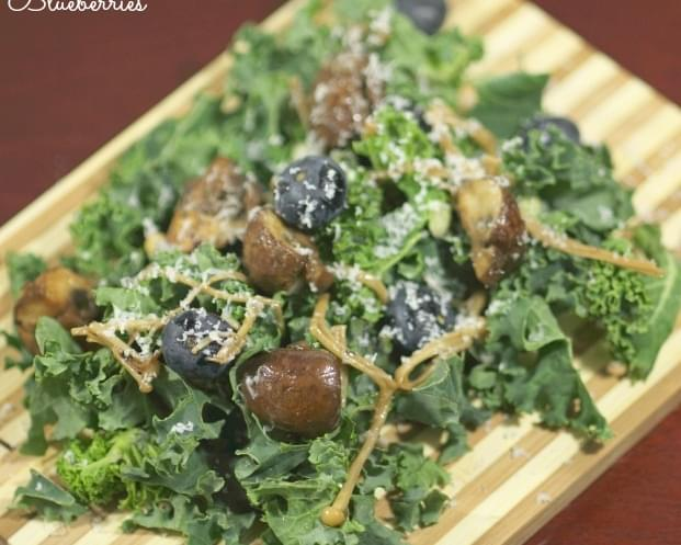 Warm Mushroom Salad with Kale and Blueberries