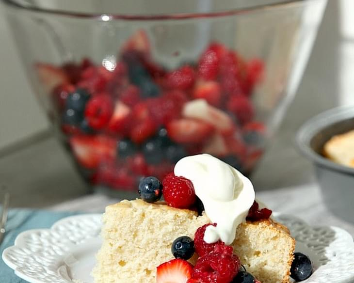 Lightened Mixed Berry Shortcake with Whipped Yogurt Cream