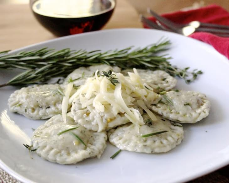 Butternut Squash & Gruyere Ravioli with Lemon-Infused Rosemary & Thyme Oil