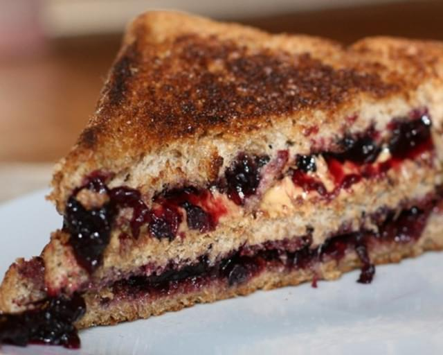 Grilled Cashew Butter and Blueberry Sandwich