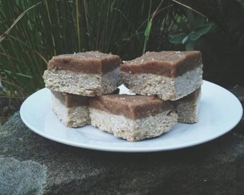 Raw Vegan Caramel Topped Ginger Oat Slice