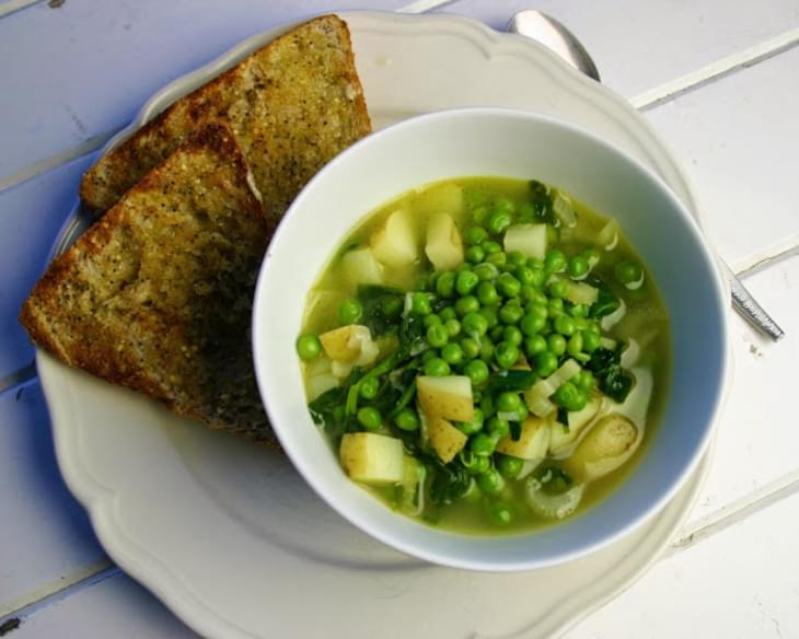 Spinach, Watercress, Celery And Pea Pottage