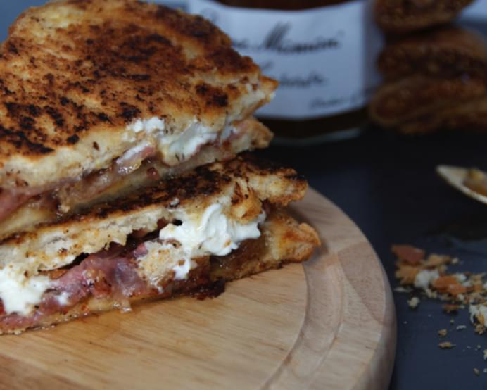 Honey Bacon, Fig And Goats Cheese Grilled Sandwich