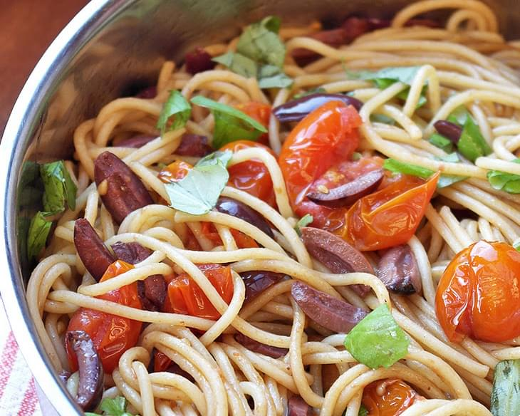 Spaghetti with balsamic roasted cherry tomatoes & Kalamata olives