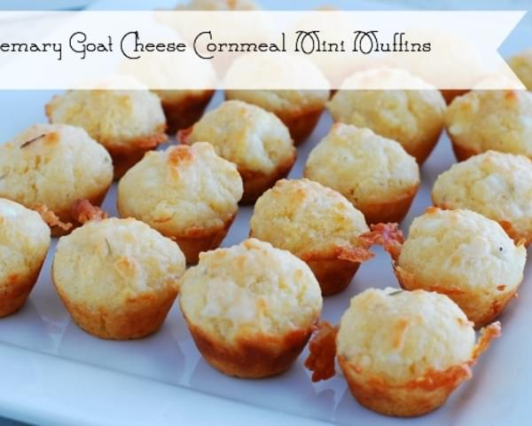 Rosemary Goat Cheese Cornmeal Mini Muffins - party appetizer or dinner side dish