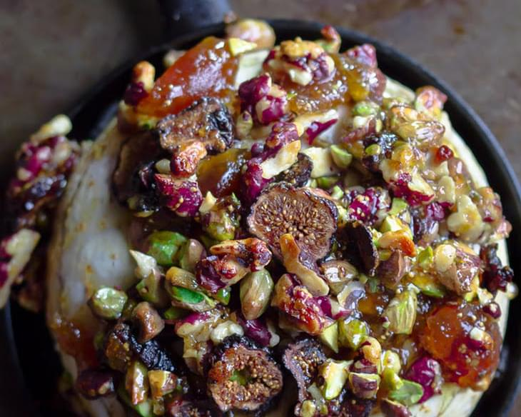 A French Baked Brie Recipe with Figs, Walnuts and Pistachios