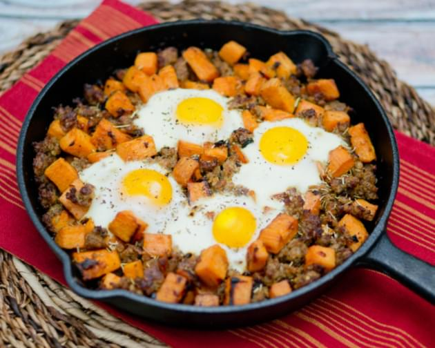 Sweet Potato Hash with Sausage and Eggs