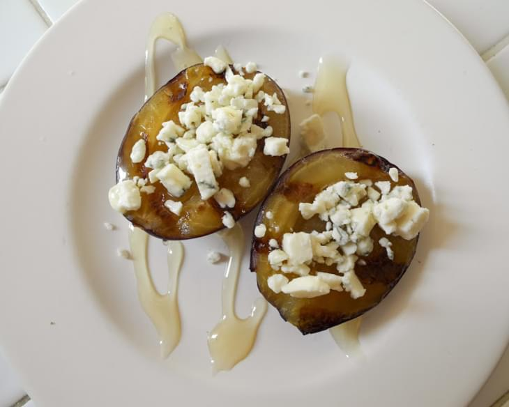Grilled Plums with Blue Cheese and Honey