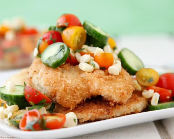 Crispy Chicken Paillard with Summer Salad