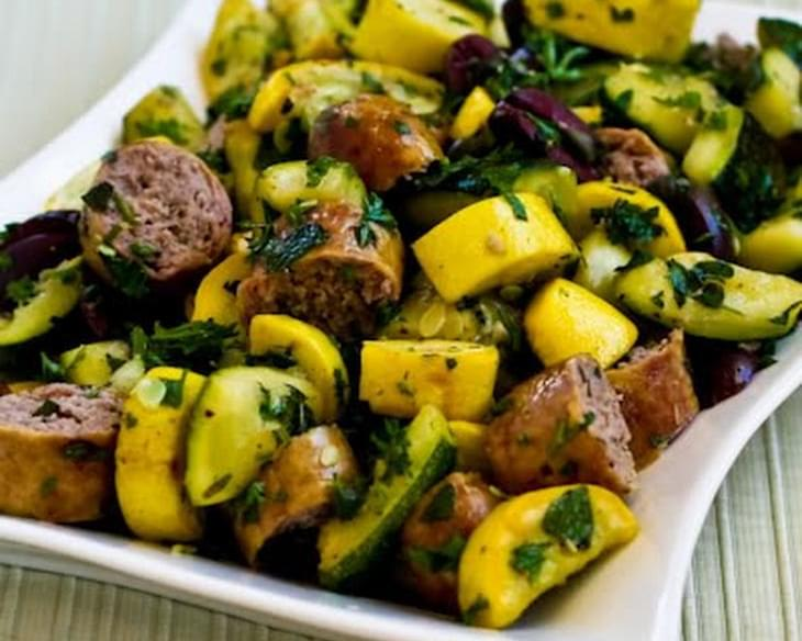 Grilled Sausage and Summer Squash with Herbs, Capers, Kalamata Olives, and Lemon