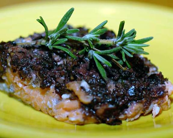 Salmon with Anchovy Olive Tapenade