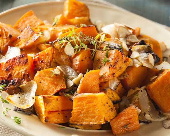 Simple Garlic-Roasted Sweet Potatoes