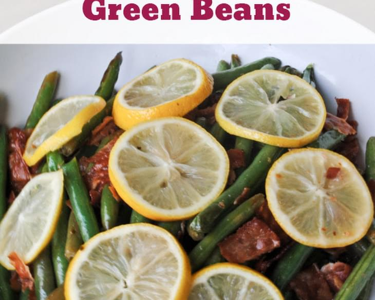 Roasted Lemon Bacon Green Beans
