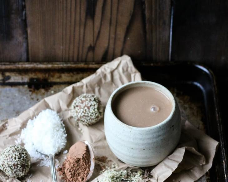 HOT CACAO with CINNAMON, COCONUT + DATES