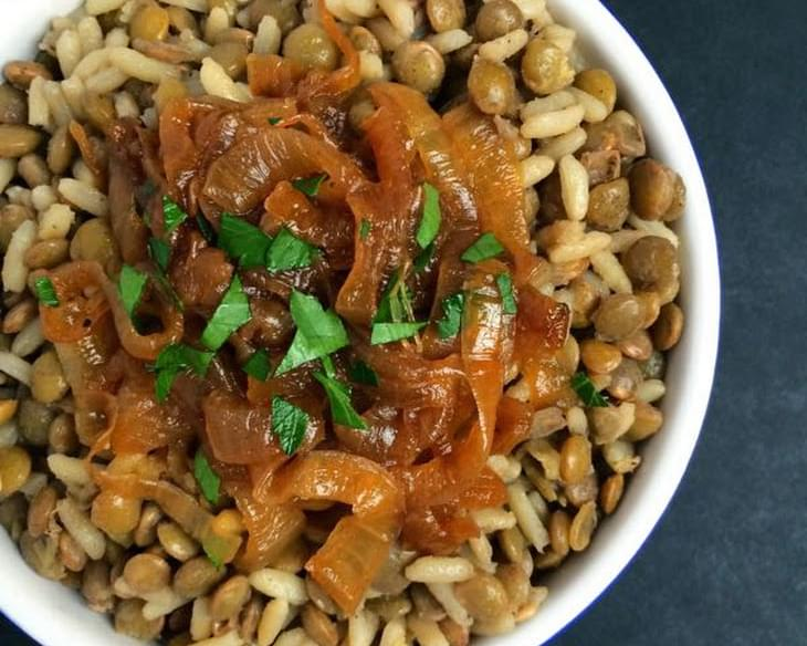 M'Juddarah - Lentils and Rice with Caramelized Onions