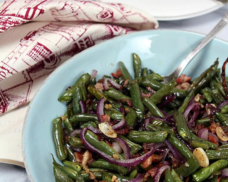 Roasted Green Beans with Pancetta, Red Onion and Garlic