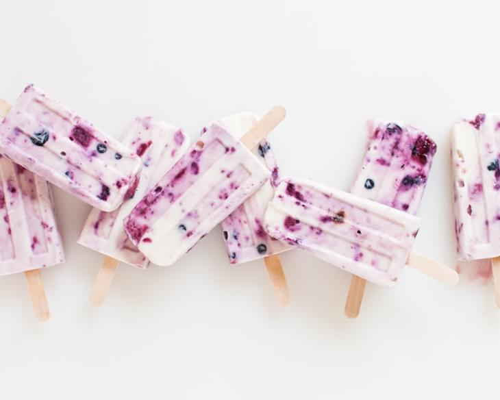 Roasted Berry and Honey Yogurt Pops