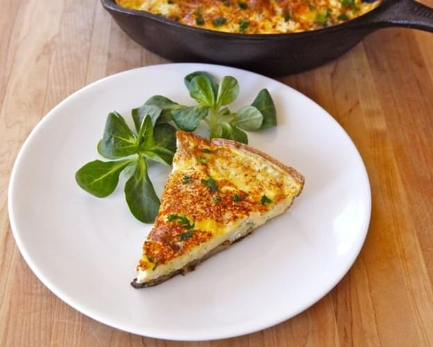 Mushroom, Harissa and Goat Cheese Frittata