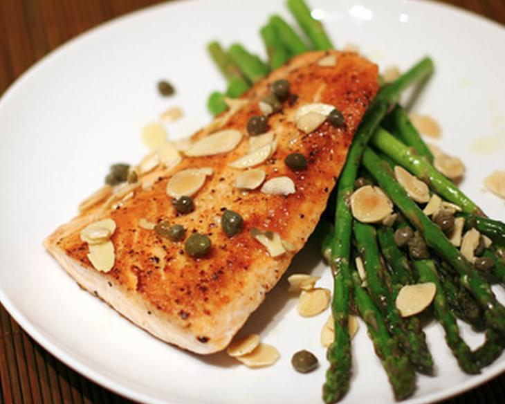 Salmon With Brown Butter, Almonds, and Asparagus