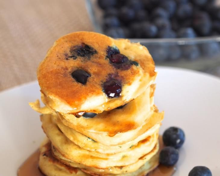 Greek Yogurt Blueberry Pancakes