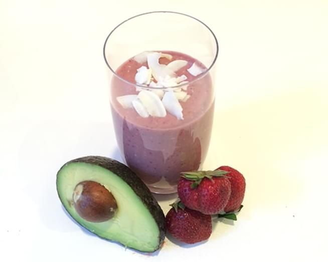 Strawberry Coconut Avocado Smoothie