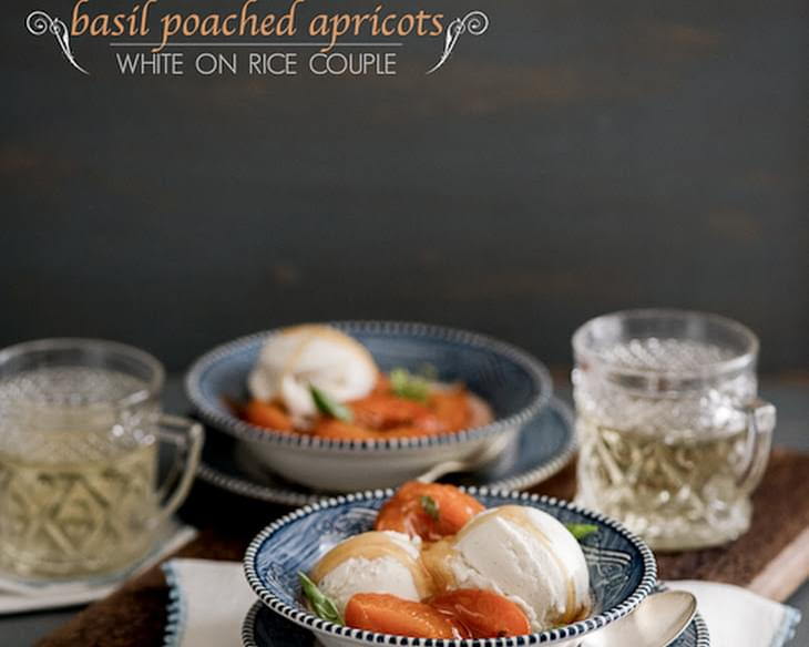 Basil Poached Apricots a la Mode