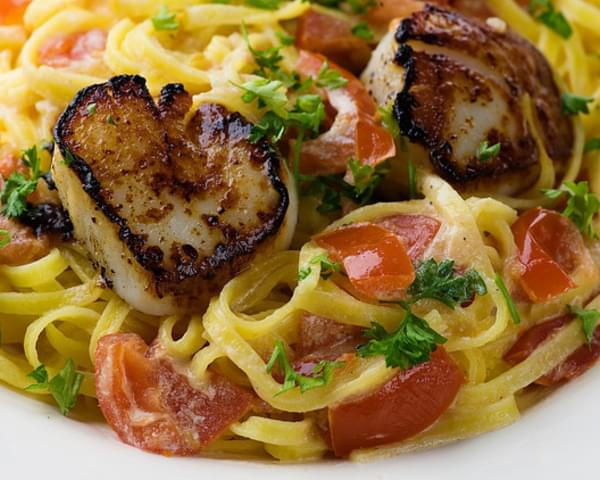 Pan-Seared Scallops on Linguine with Tomato Cream Sauce