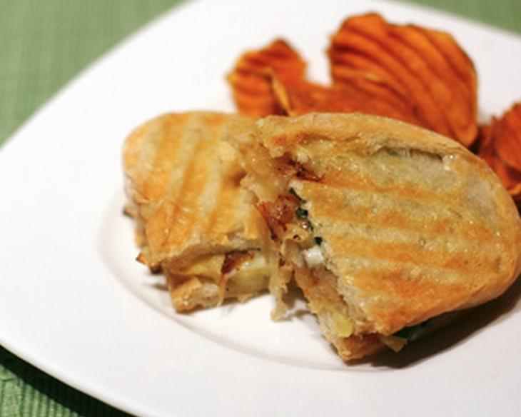 Caramelized Onion, Apple, and Blue Cheese Panini