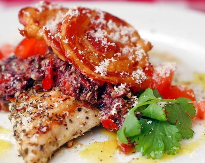 Garlic Oregano Grilled Chicken with Red Pepper Parmesan Tapenade and Crispy Pancetta