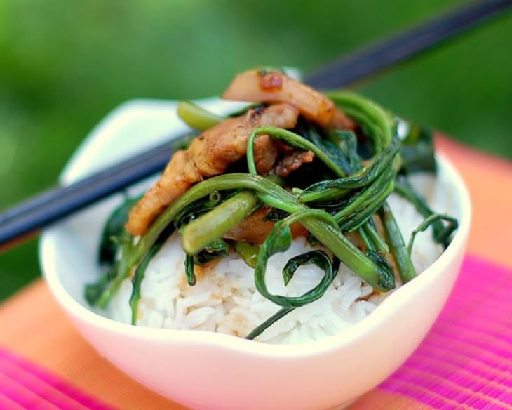 Morning Glory & Pork Belly Stir Fry