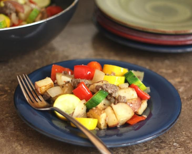 Red Potato, Bell Pepper and Zucchini Skillet with Spicy Sausage