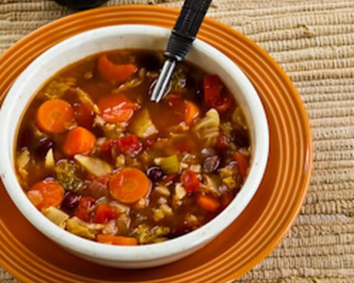Barley Minestrone with Canadian Bacon, Savoy Cabbage, and Rosemary