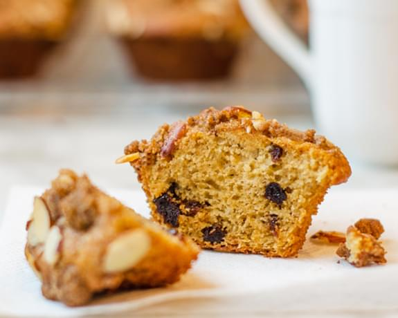 Dried Cherry Buttermilk Muffins with Almond Streusel