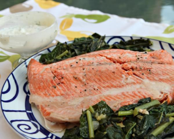 Salmon with Kale and Yogurt - Horseradish Sauce