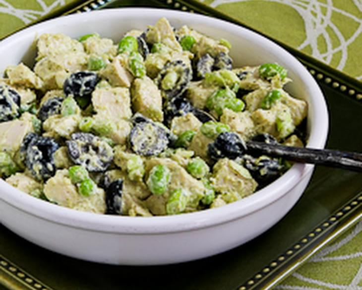 Leftover Chicken Pesto Salad with Edamame (or Peas)