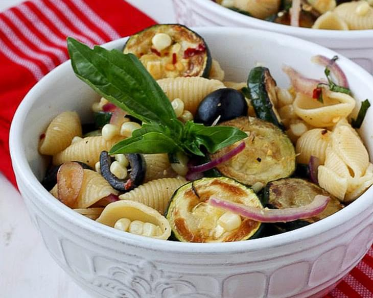 Warm Pasta Salad with Corn and Zucchini