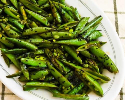 Spicy Stir-Fried Sugar Snap Peas with Soy Sauce, Sesame Oil, and Sriracha