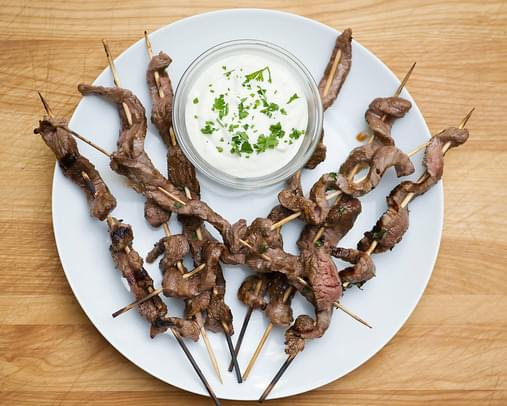 Steak Skewers with Blue Cheese Dip