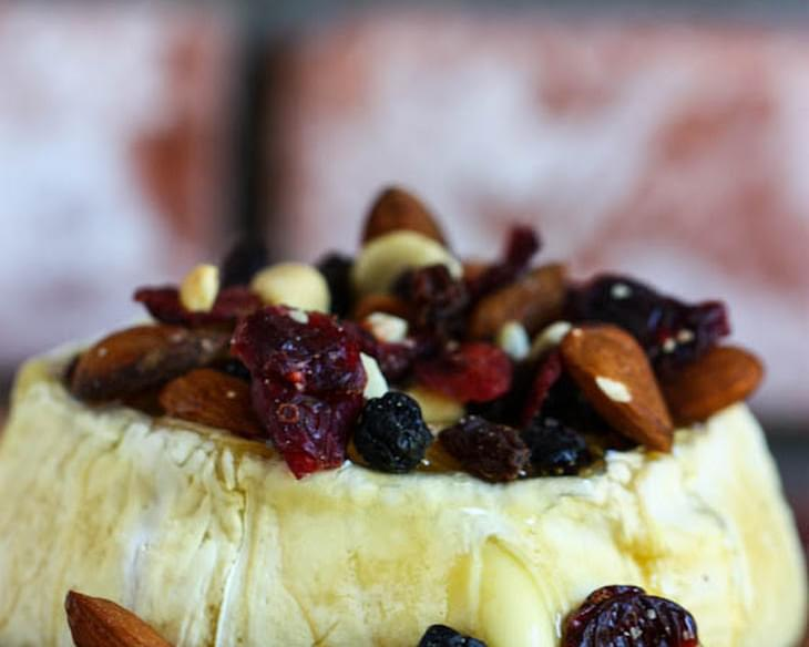 Grilled Brie with Honey and Trail Mix