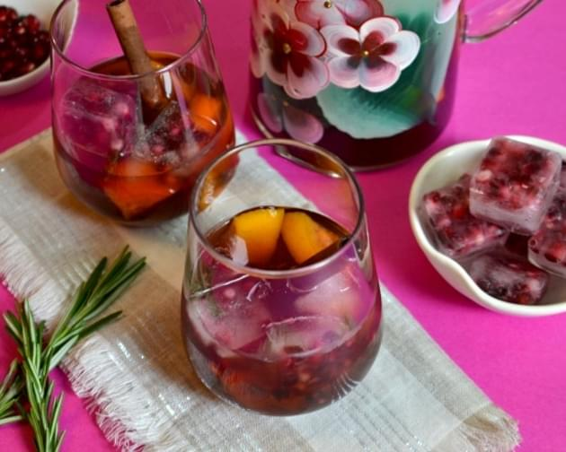 Chilled Mulled Pomegranate Wine with Pomegranate Ice