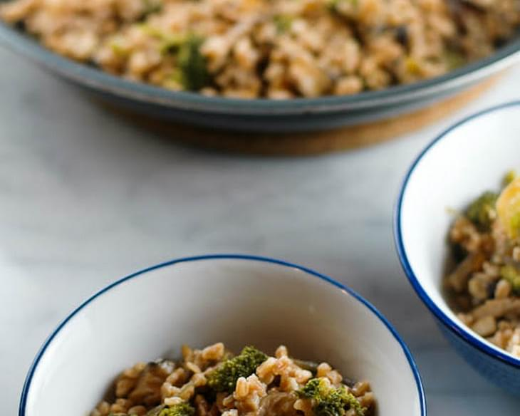 Farro with Broccoli and Shiitakes