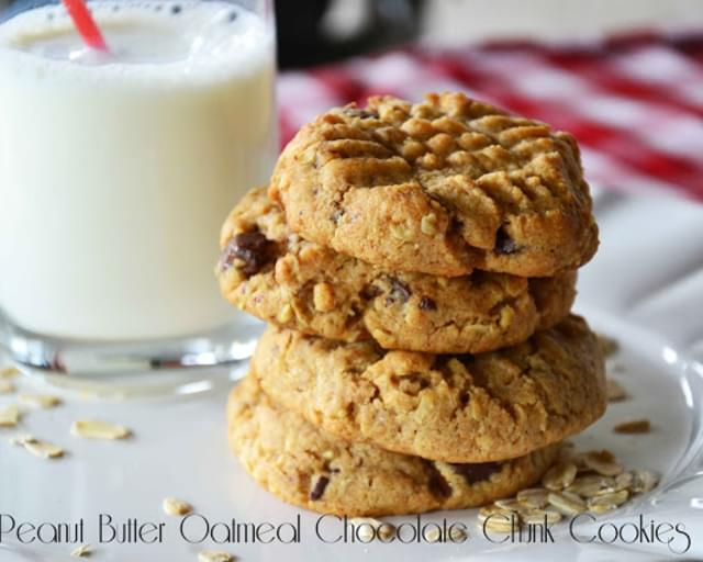 Healthy Peanut Butter Oatmeal Chocolate Chunk Cookies