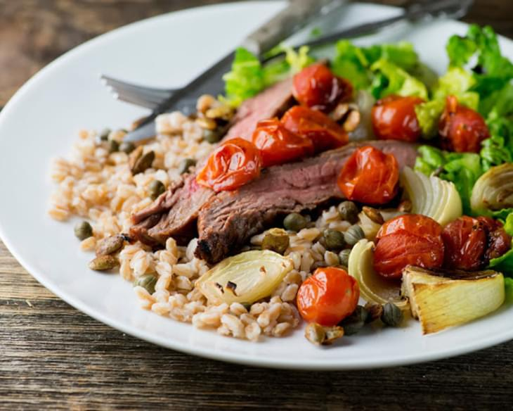 Steak, Farro and Roasted Tomatoes