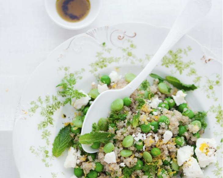 Spring Quinoa Salad with Peas, Favas, Lemon and Feta