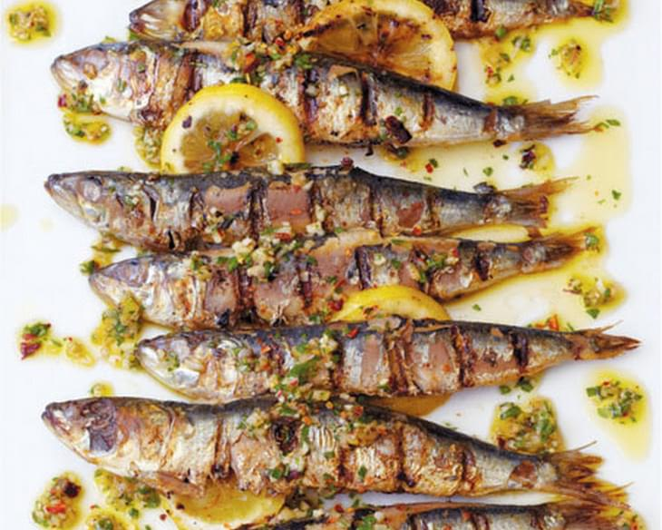 Grilled Sardines with Charred Lemon and Chile Sauce