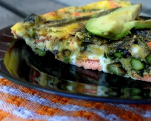 Grilled Salmon and Asparagus Frittata Recipe