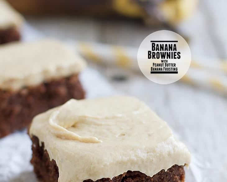 Banana Brownies with Peanut Butter Banana Frosting