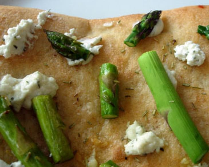 Asparagus Pizza with Rosemary and Goat Cheese