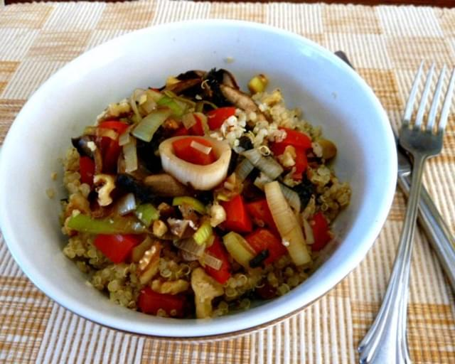 #Leeklove Quinoa with Leeks and Mushrooms